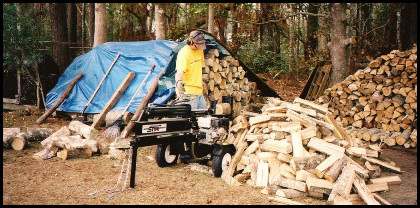 Adam splitting firewood after Katrina.