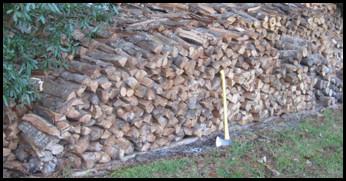 Stacked Water Oak Logs.