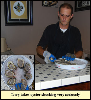 For Terry opening and serving oysters is not to be taken lightly.