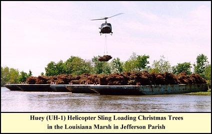 helicopter loading trees - Christmas Tree Farm Louisiana
